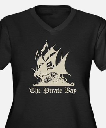 The Pirate Bay Women's Plus Size V-Neck Dark T-Shi