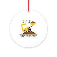 I Dig Kindergarten Round Ornament