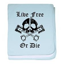 Live Free Or Die Gear Skull baby blanket