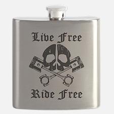 Live Free Ride Free Gear Skull Flask