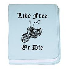 Live Free Or Die Motorcycle baby blanket