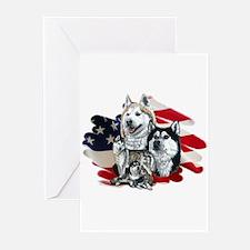 America flag Husky Greeting Cards (Pk of 10)