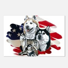 America flag Husky Postcards (Package of 8)