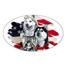 America flag Husky Oval Decal