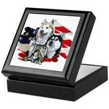America flag Husky Keepsake Box