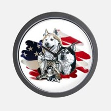 America flag Husky Wall Clock