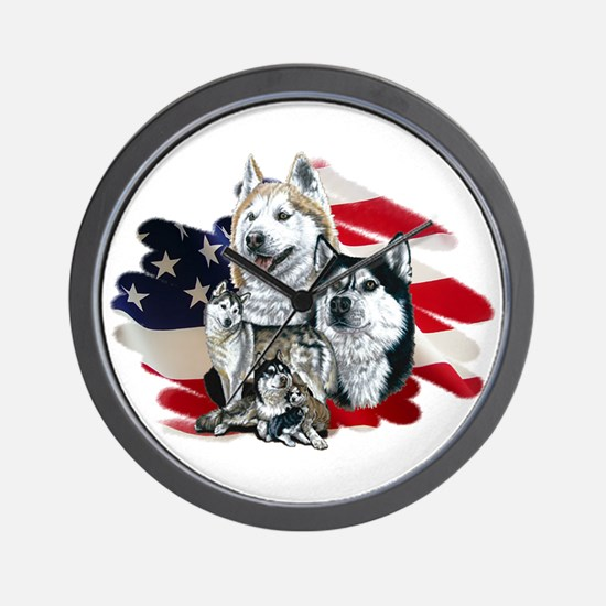 America flag Husky Wall Clock
