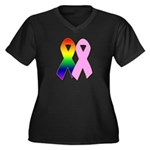 Rainbow & Pink Ribbons Women's Plus Size V-Neck Da