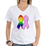 Rainbow & Pink Ribbons Women's V-Neck T-Shirt