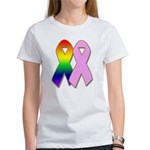 Rainbow & Pink Ribbons Women's T-Shirt