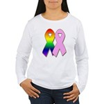 Rainbow & Pink Ribbons Women's Long Sleeve T-Shirt