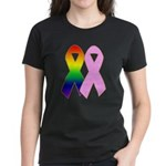 Rainbow & Pink Ribbons Women's Dark T-Shirt