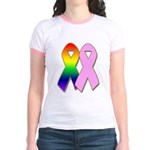 Rainbow & Pink Ribbons Jr. Ringer T-Shirt