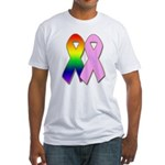 Rainbow & Pink Ribbons Fitted T-Shirt