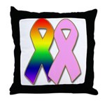 Rainbow & Pink Ribbons Throw Pillow