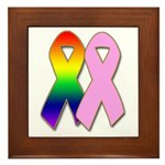 Rainbow & Pink Ribbons Framed Tile