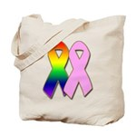 Rainbow & Pink Ribbons Tote Bag