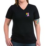 Rainbow & Pink Ribbons Women's V-Neck Dark T-Shirt