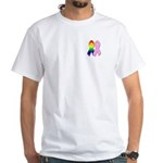 Rainbow & Pink Ribbons White T-Shirt
