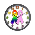 Rainbow & Pink Ribbons Wall Clock