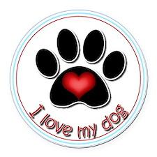 I Love My Dog Round Car Magnet