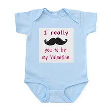 Mustache Valentine Body Suit