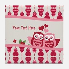 Valentines Owl Couple Tile Coaster