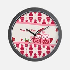 Valentines Owl Couple Wall Clock