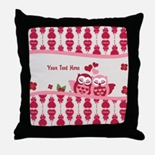 Valentines Owl Couple Throw Pillow