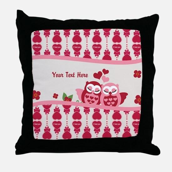 Valentines Owl Couple Throw Pillow