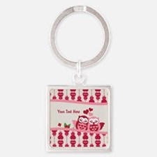 Valentines Owl Couple Square Keychain