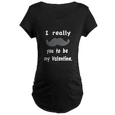 Mustache Valentine Maternity T-Shirt