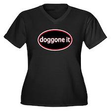 Doggone it Women's Plus Size V-Neck Dark T-Shirt