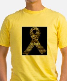 Childhood Cancer Word Shape T