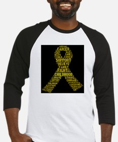 Childhood Cancer Word Shape Baseball Jersey