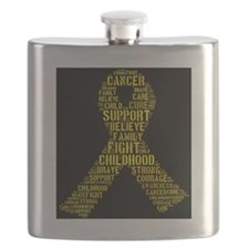 Childhood Cancer Word Shape Flask