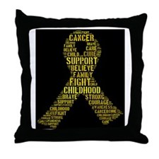 Childhood Cancer Word Shape Throw Pillow