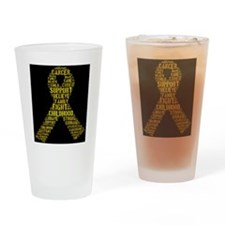 Childhood Cancer Word Shape Drinking Glass