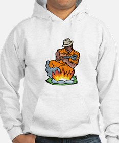 guitarist dark skin orange shirt by fire Hoodie