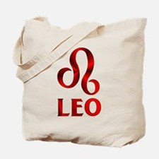 Red Leo Astrological Symbol Tote Bag