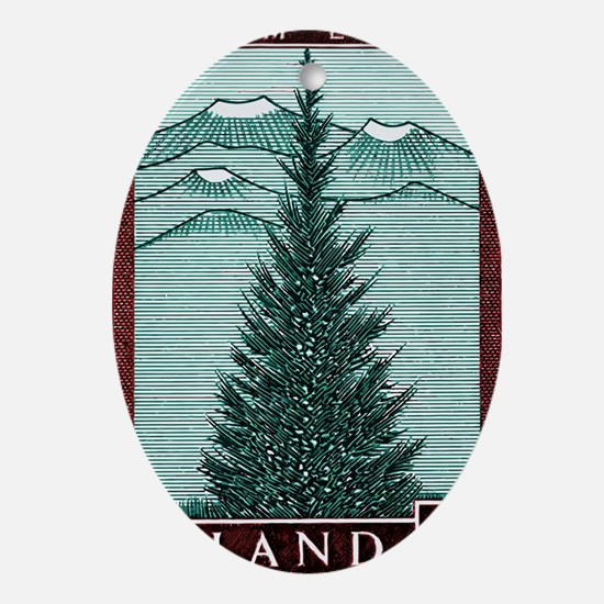 Vintage 1957 Iceland Spruce Tree Pos Oval Ornament