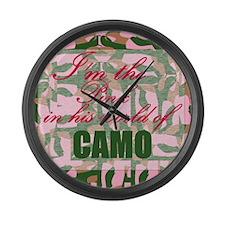 Pink Camo Large Wall Clock