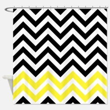 black and yellow chevrons Shower Curtain