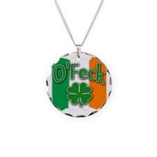 O Feck with Irish Colors Necklace Circle Charm