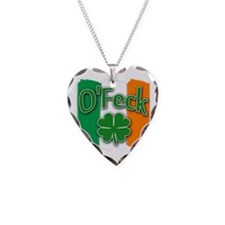 O Feck with Irish Colors Necklace Heart Charm