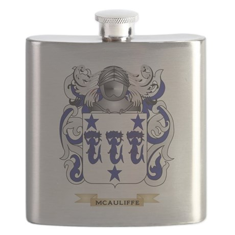 McAuliffe Coat of Arms - Family Crest Flask