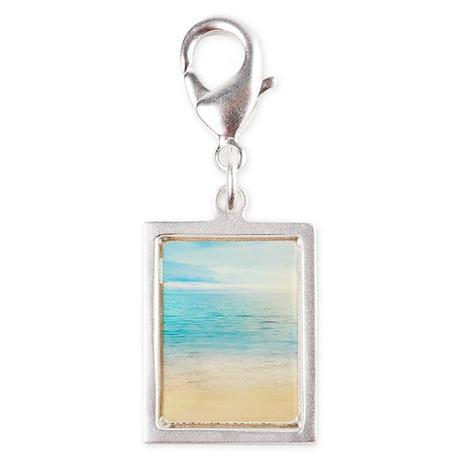 Beautiful Beach Silver Portrait Charm