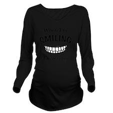 Smiling (Black) Long Sleeve Maternity T-Shirt