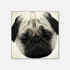 """Pug Head Square Sticker 3"""" x 3"""""""