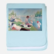 Bathers at Asnieres baby blanket
